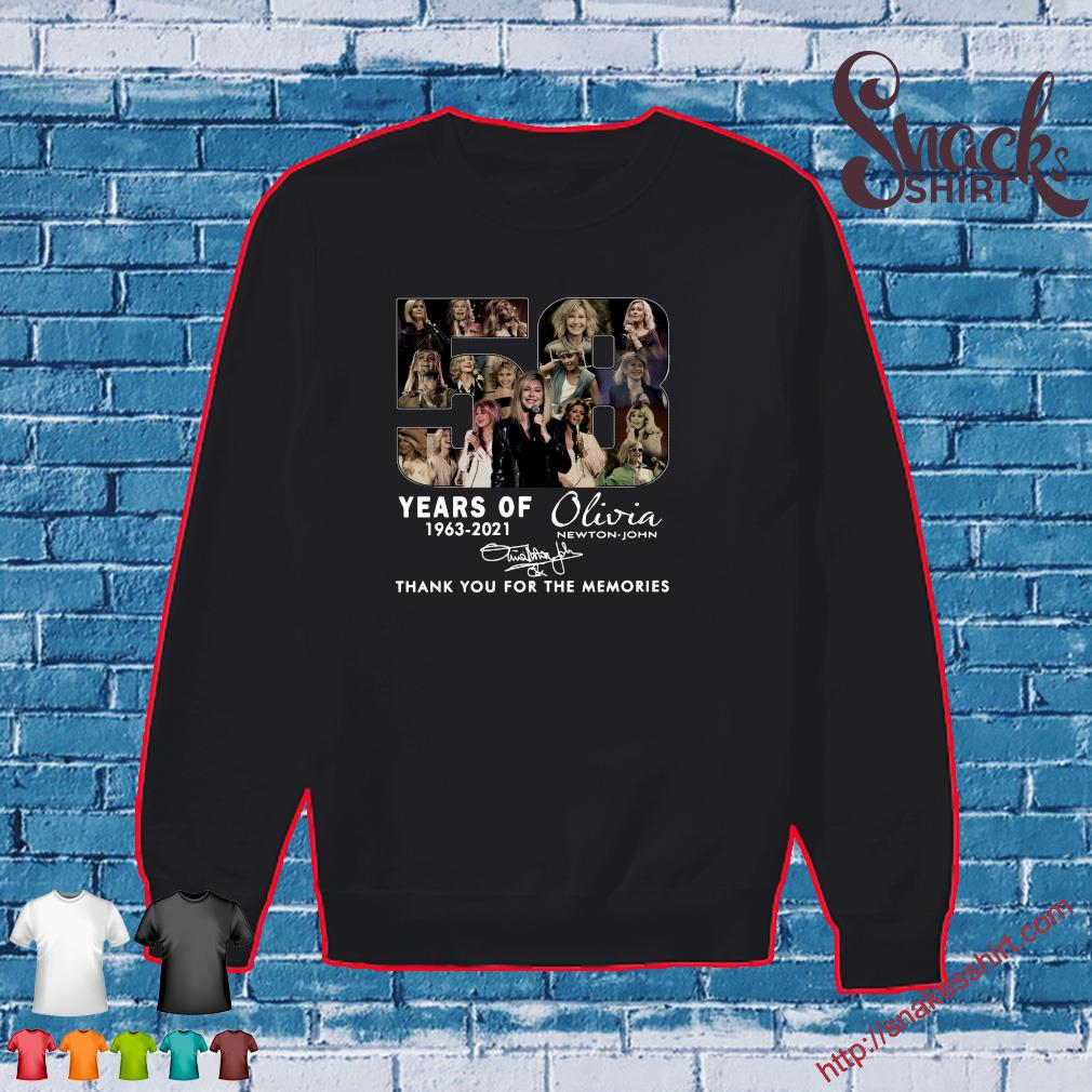 58 Years 1963 2021 Of The Olivia Newton-john Signatures Thank You For The Memories Shirt Sweater