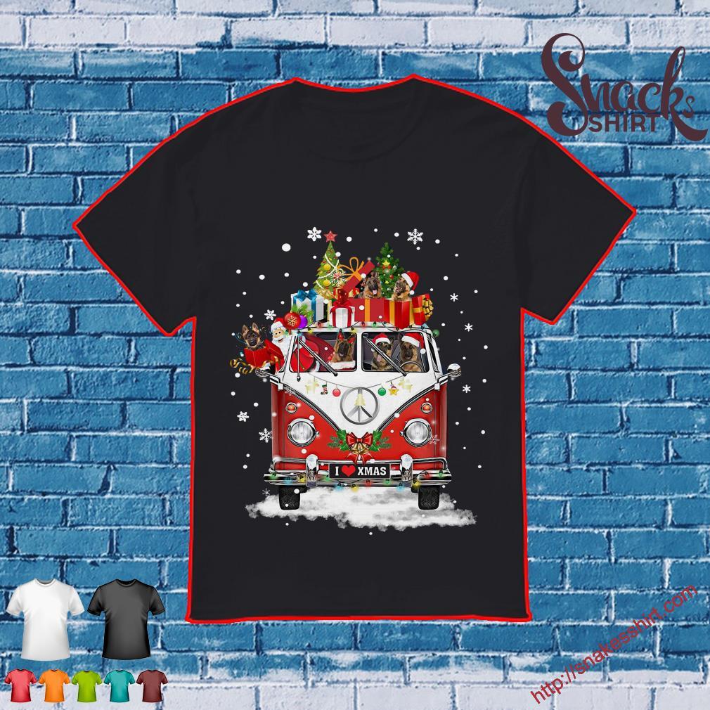 German Shepherd Christmas Sweater.Hippie Car German Shepherd Christmas Shirt Hoodie Tank Top