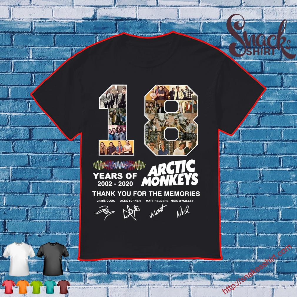 18 years of 2002 2020 Arctic Monkey thank You for the memories shirt