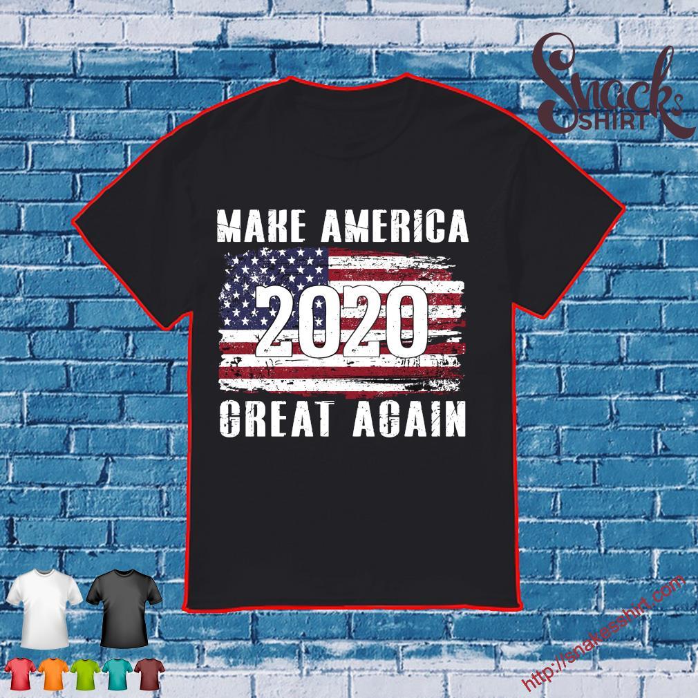 American Flag make America 2020 great again shirt