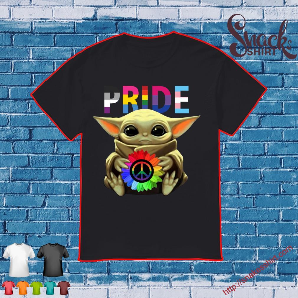 Pride Baby Yoda Hug Hippie Sunflower shirt