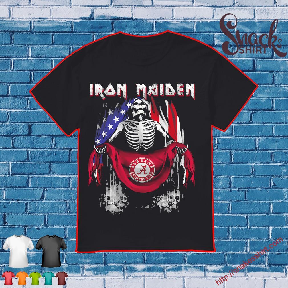 Skeleton Iron Maiden Alabama Crimson Tide logo American flag independence day Shirt
