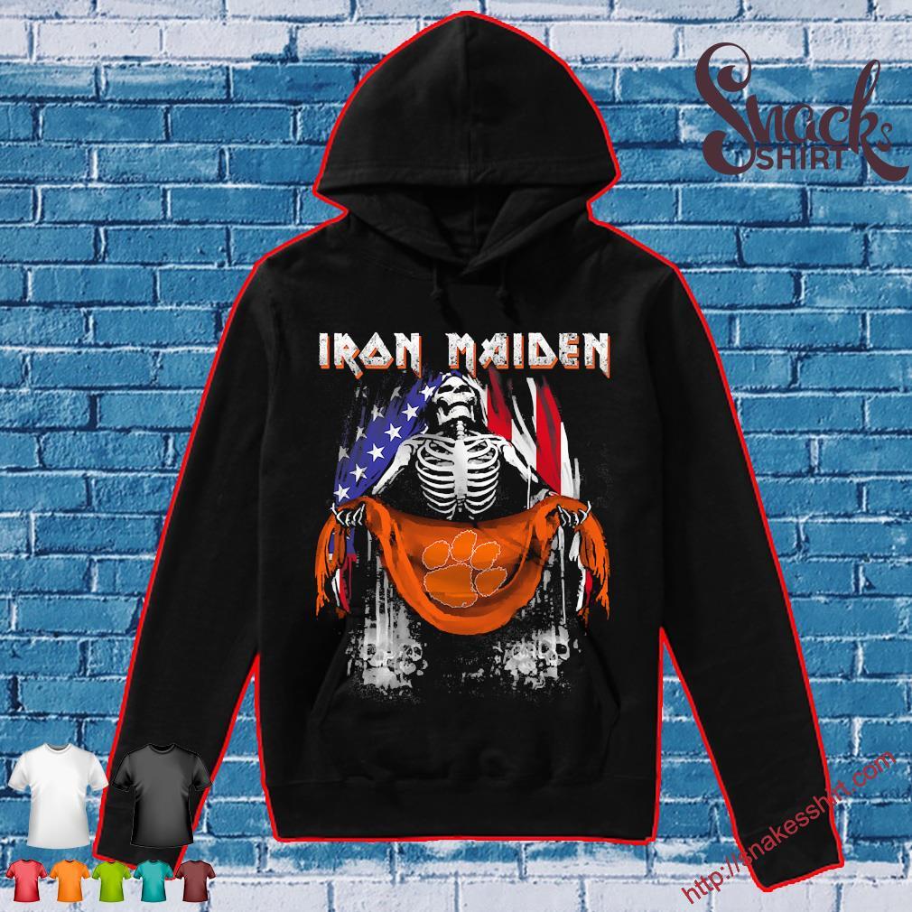 Skeleton Iron Maiden Clemson Tiger logo American flag independence day Shirt Hoodie