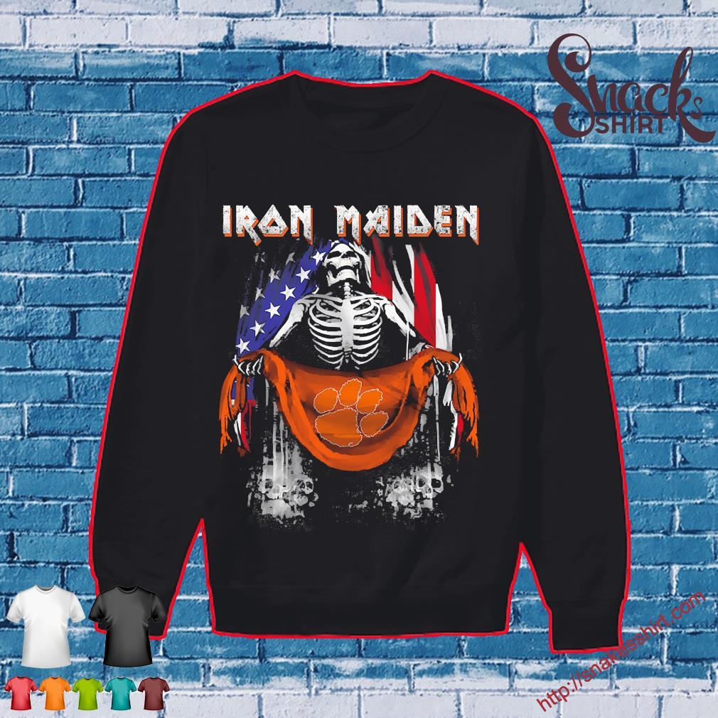 Skeleton Iron Maiden Clemson Tiger logo American flag independence day Shirt Sweater