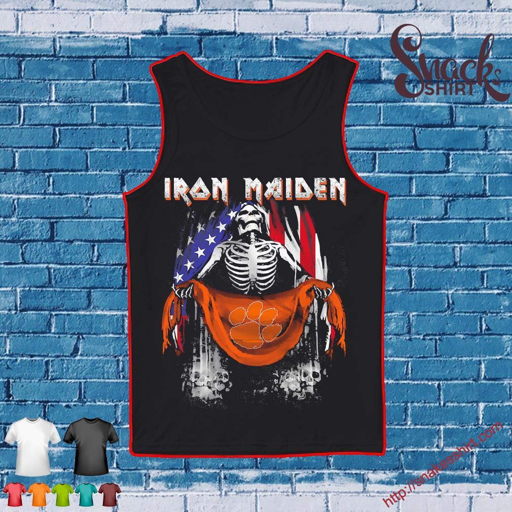 Skeleton Iron Maiden Clemson Tiger logo American flag independence day Shirt Tank top