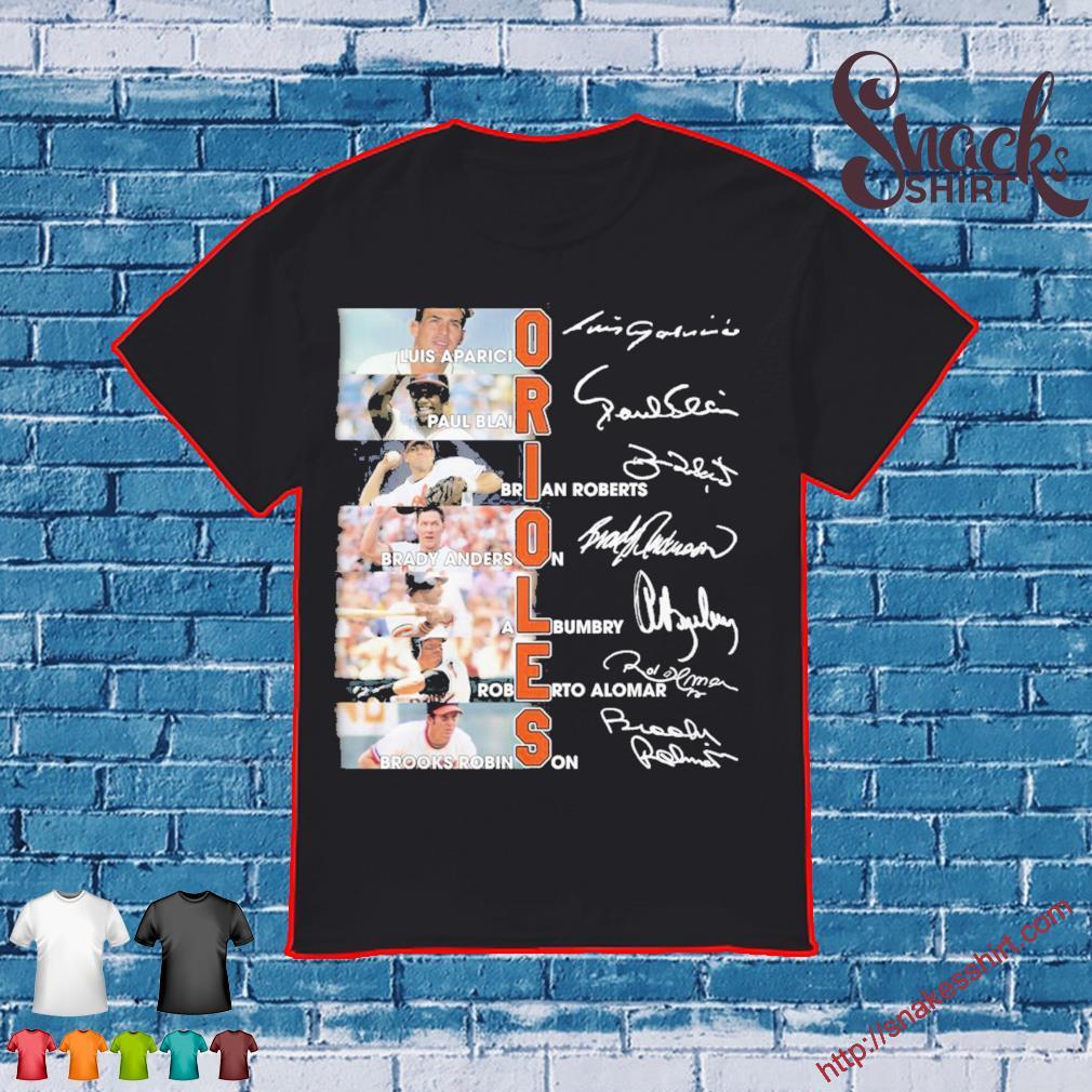 Orioles Luis Aparicio Paul Blair Brady anderson Albumbry Roberto Alomar Brooks Robinson signatures shirt