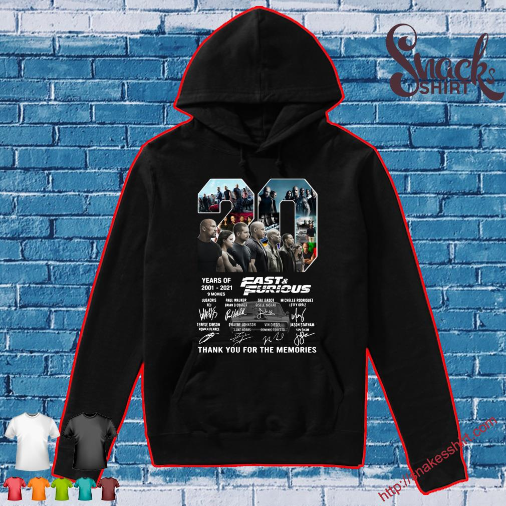 20 years of 2001-2021 fast&furious thank you for the memories s Hoodie