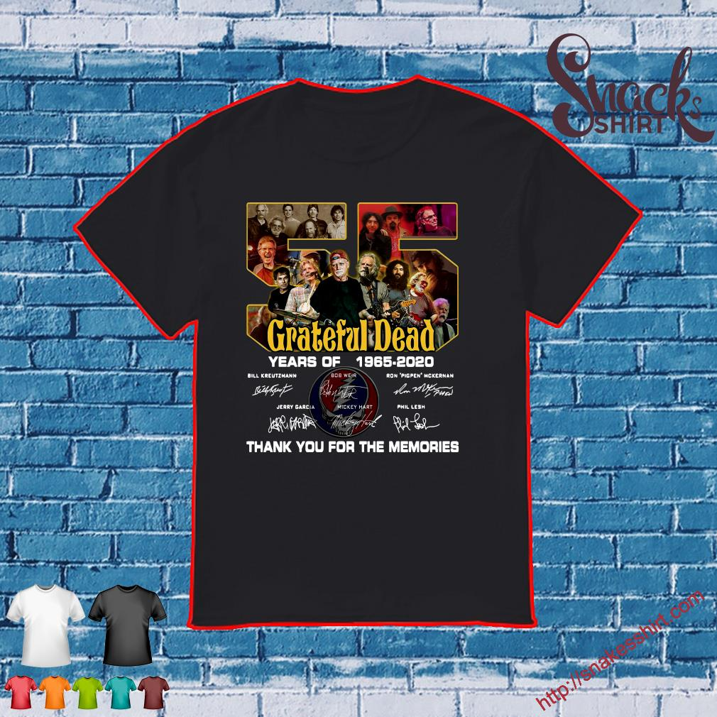 Grateful Dead 55 years of 1965 2020 thank you for the memories signatures shirt