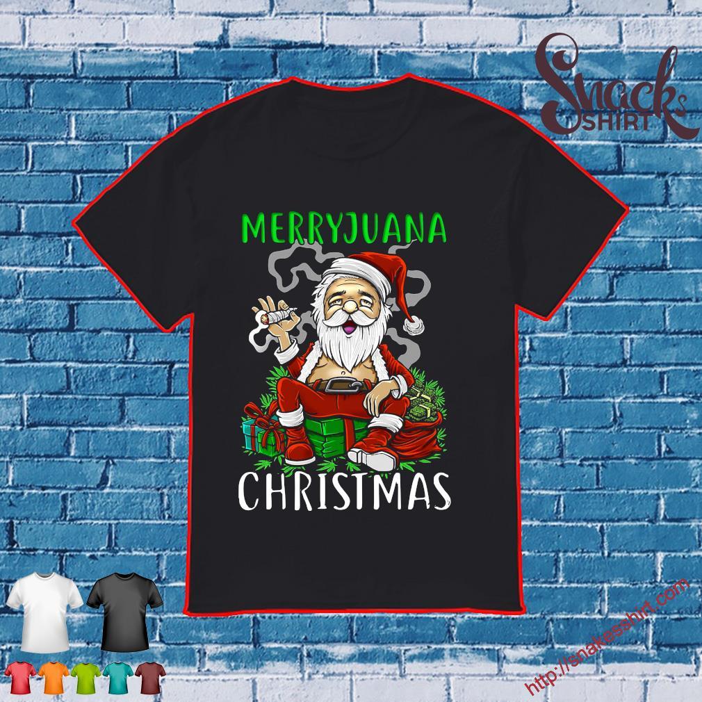 Merryjuana christmas santa smoking shirt