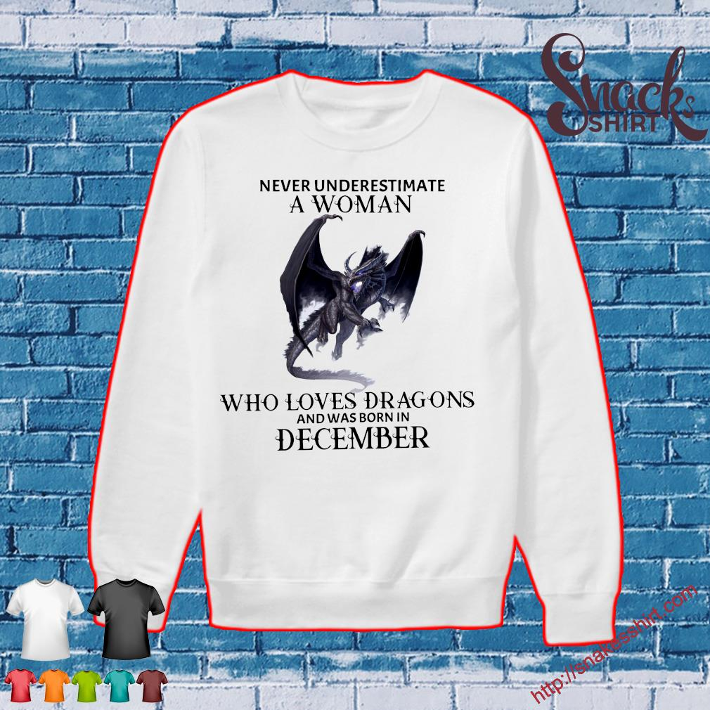 Never underestimate a woman who loves dragons and was born in december s Sweater