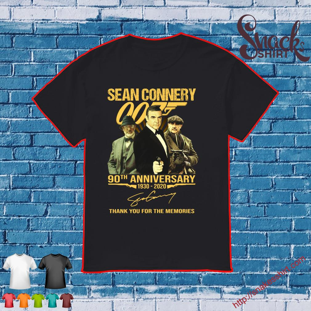 Sean connery 90th anniversary 1930-2020 thank you for the memories shirt