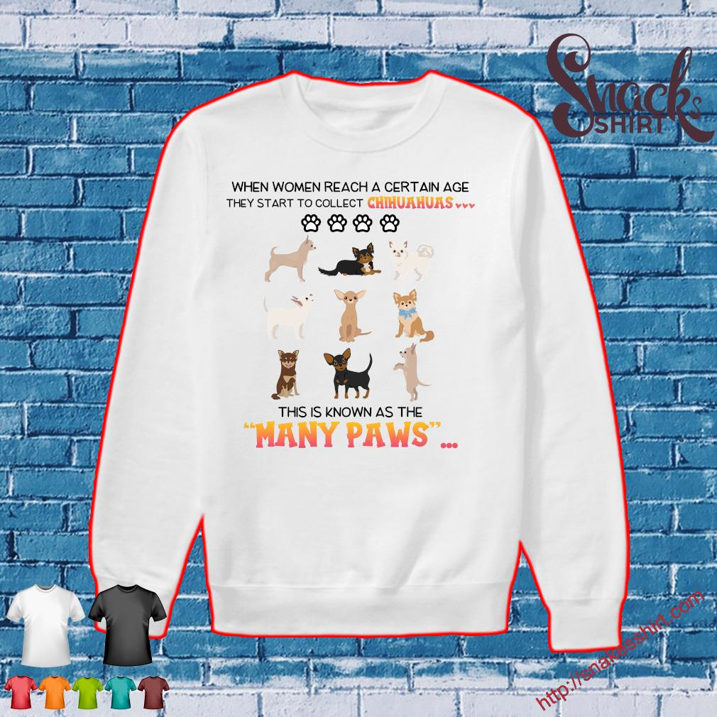 When women reach a certain age they start to collect chihuahuas this is known as the many paws s Sweater