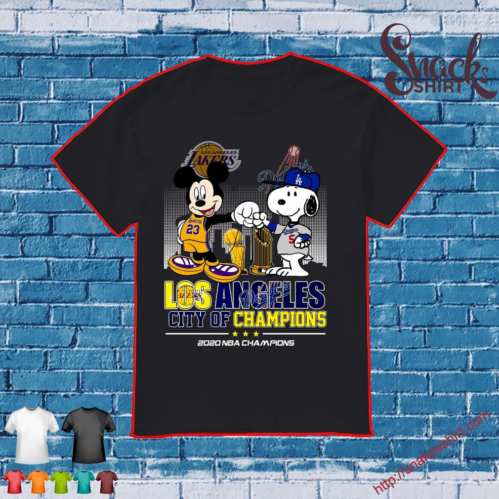 Mickey Mouse Los Angeles Lakers And Snoopy Los Angeles Dodgers City Of Champions 2020 Nba Champions Shirt