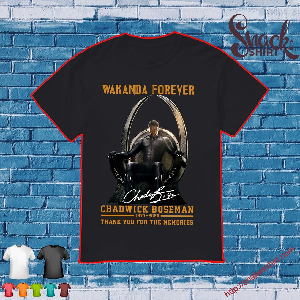 Wakanda forever black panther chadwick Boseman 1977 2020 thank you for the memories signature rip king shirt